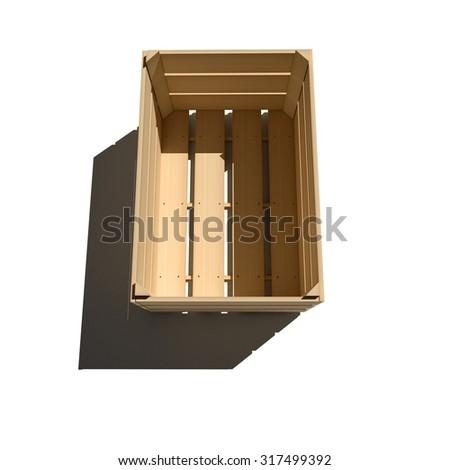 Empty wooden box isolated on white background - stock photo