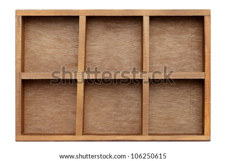 Empty wooden box try isolated on white background