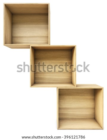 empty wooden boxes. isolated on white background. - stock photo