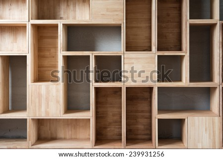 Empty wooden boxes on the ground in a room. - stock photo