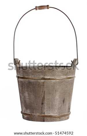 Empty wooden bucket with handle - stock photo