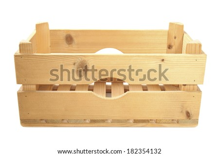 Empty wooden crate isolated over white - stock photo