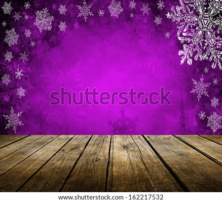 Empty wooden deck table with christmas background. Ready for product display montage. - stock photo