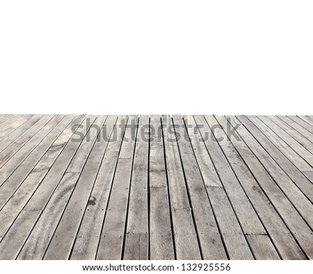 empty wooden floor isolated on white - stock photo