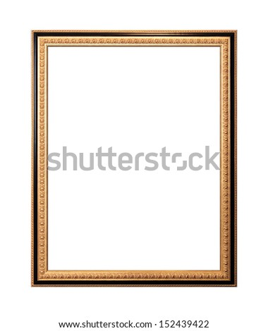 Empty wooden frame painted with gold and black paint isolated on white