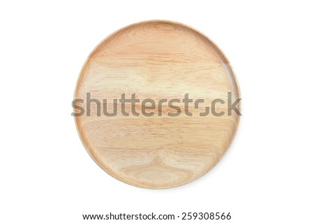 empty wooden plate isolated on white background - stock photo