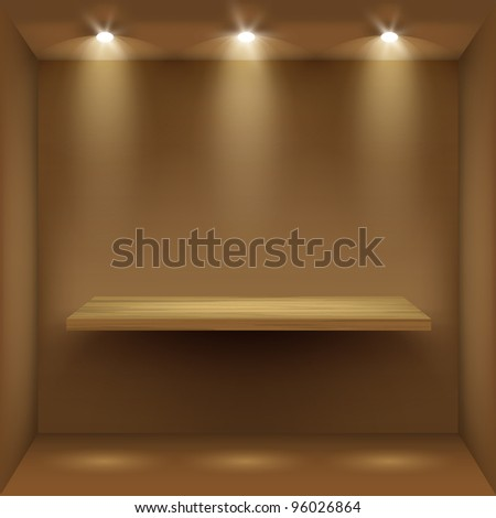 Empty wooden shelf in room, illuminated by searchlights. - stock photo