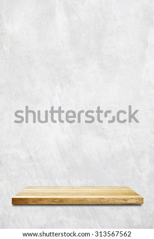 Empty wooden shelf over cement wall, product display montage, template, background