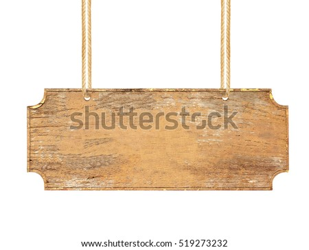 empty wooden sign hanging on a rope on white background
