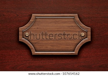 empty wooden sign on the wall of wood - stock photo
