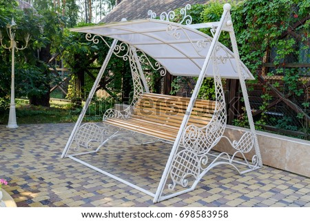 Empty Wooden Swing White Decorative Metal Stock Photo (Royalty Free ...