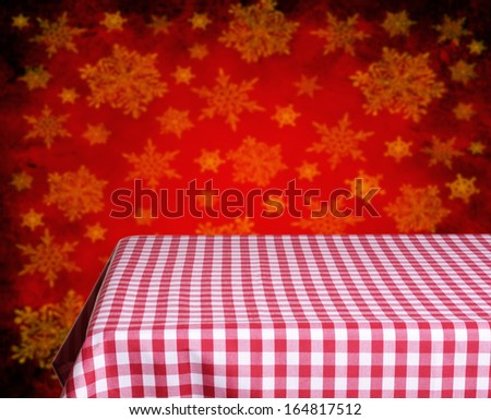 empty wooden table and christmas background. Great for product display montages. - stock photo
