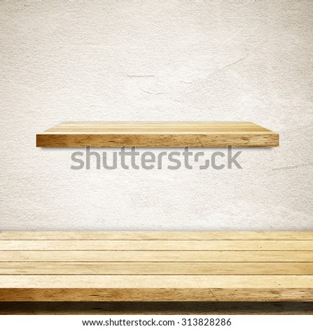 Empty wooden table and shelf over cement wall background, template, product display montage