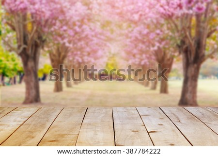 Empty wooden table on nature background. - stock photo