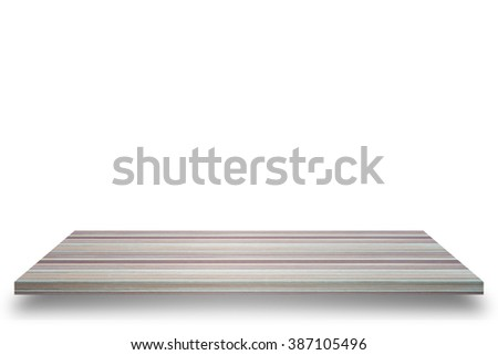 Empty wooden table or wooden shelf wall isolated on white background, For present your products. - stock photo