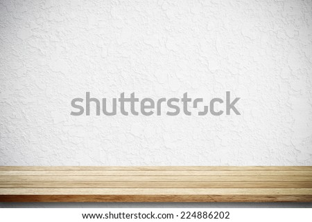 Empty wooden table over grunge cement wall, vintage, background, template, display - stock photo