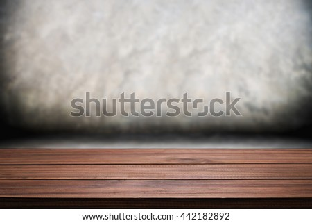 Empty wooden table space polished concrete surface background. For product display presentation. - stock photo