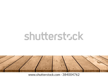 empty wooden table top isolated on white background, used for display or montage your products - stock photo