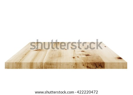 Empty wooden table top view.