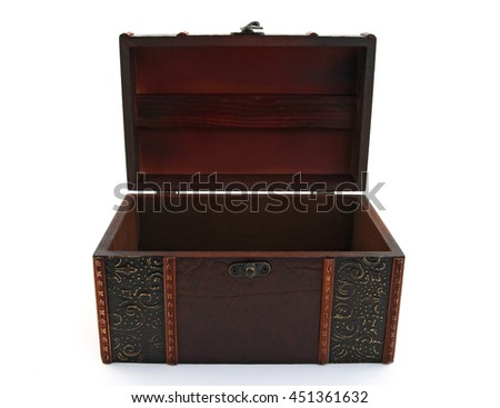 Empty wooden treasure chest over white background.