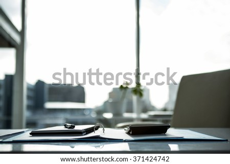 Empty working desk in a office - stock photo