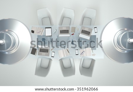 Empty workspace with business accessories on glass PLAN table. Top view. High resolution render. Business concept