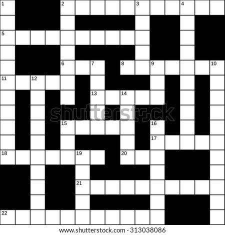 Empty 15x15 squares British-style crossword grid for 22 words with numbers, white cells on black background, illustration