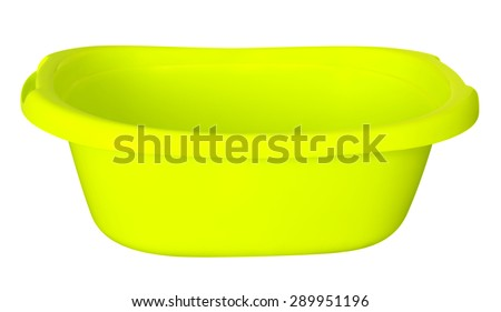 Empty yellow baby plastic bath tub isolated on white. Clipping path included.