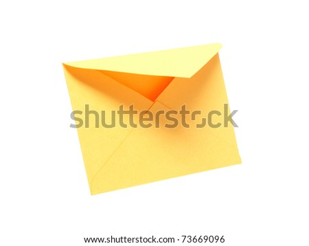 Empty yellow envelope standing on white background. Clipping path is included