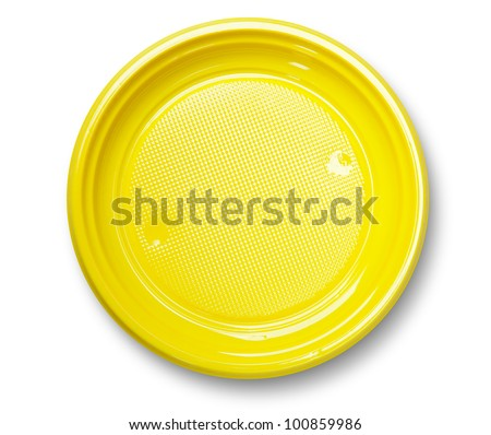Empty yellow plastic plate with shadow on white ( with clipping path) - stock photo