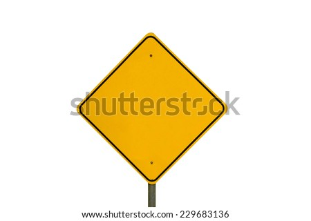 Empty yellow warning road sign (isolated on white) - stock photo