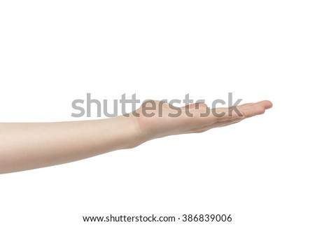 empty young female hand to hold something straight, isolated on white background - stock photo