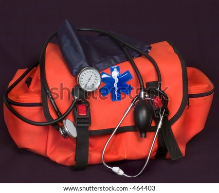 EMT - First aid bag,  stethoscope and blood pressure cuff - stock photo