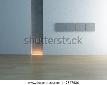 Emtpy room interior with background lighting - stock photo