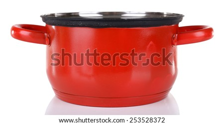 Enamel saucepan isolated on white - stock photo