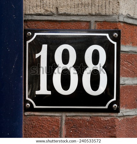 enameled house number one hundred and eighty eight. - stock photo
