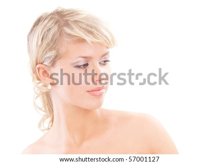 Enamoured woman in profile, isolated on white background.