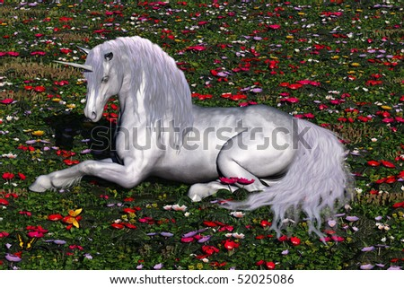 ENCHANTED - A beautiful stag unicorn lays down in a field of flowers and butterflies for a rest. - stock photo