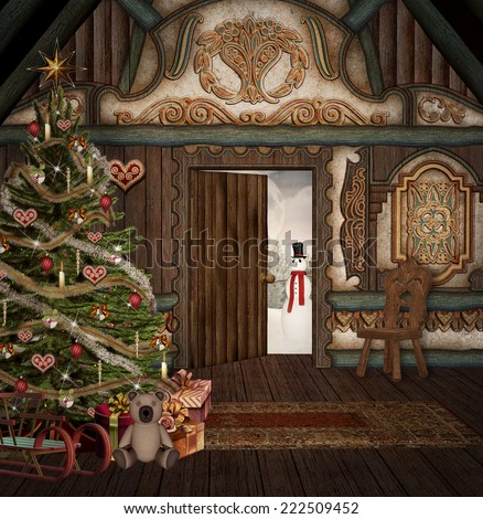 Enchanted christmas chalet - stock photo