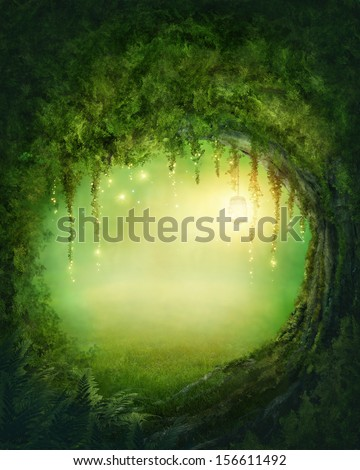 Enchanted dark forest and lights - stock photo