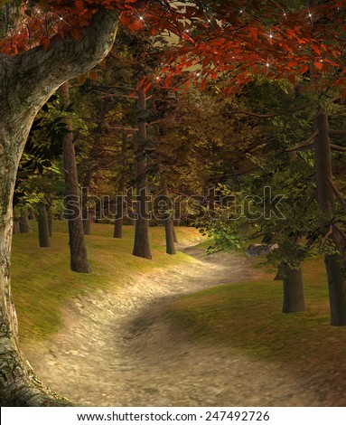 Enchanted nature series - Sunset in the enchanted forest - stock photo