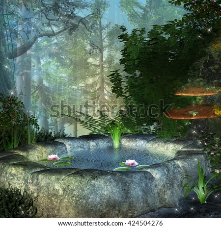 Enchanted secret pond - 3D illustration - stock photo