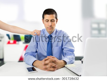 encouraging business woman clerk demotivated after a failure and discussion in the office - stock photo