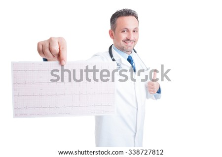 Encouraging cardiologist showing healthy ekg and like gesture isolated on white background - stock photo