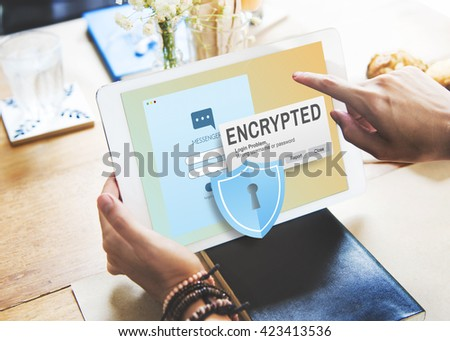 Encrypted Information Data Binary Password Safe Concept - stock photo
