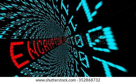Encryption in matrix tunnel - stock photo
