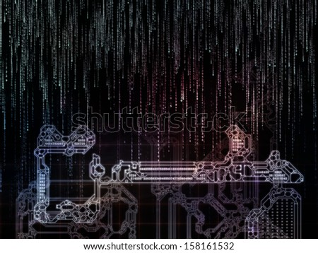 Encryption Key series. Creative arrangement of stylized key and number symbols as a concept metaphor on subject of encryption, mathematics and digital technologies - stock photo