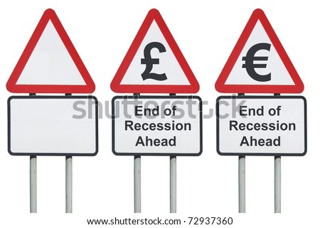 End of recession ahead road sign - stock photo