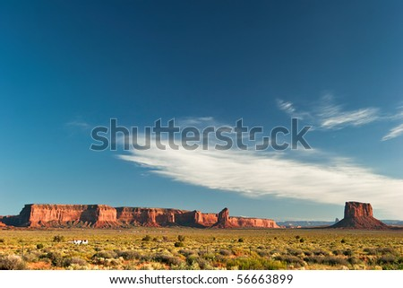 End of sunny day in Monument Valley. Arizona. USA