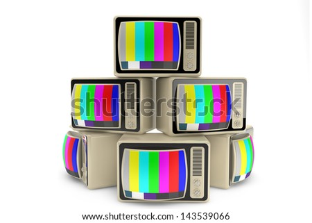End of television concept. Heap of vintage tv on a white background - stock photo